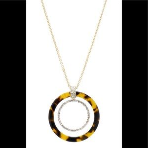 Long Resin Hoop W/Pave Glass Stone Necklace